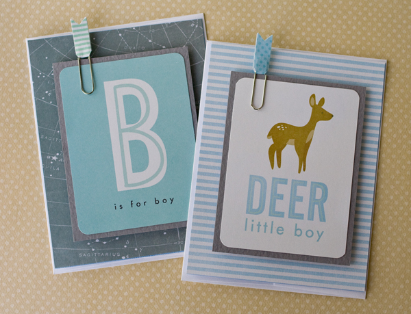 Handmade baby cards using journaling cards