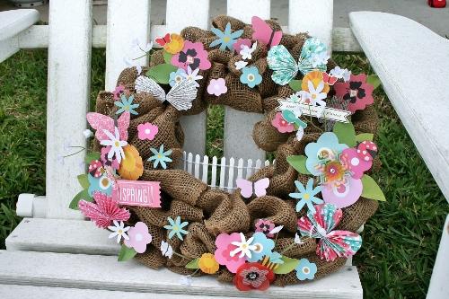 Spring wreath created using @PebblesInc Garden Party collection