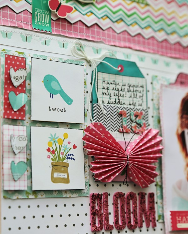 Spring layout featuring Pebbles Inc Garden Party collection