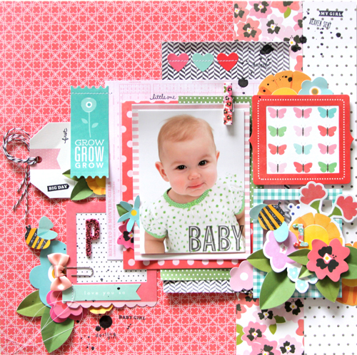 Baby scrapbook layout by @reneezwirek using @Pebblesinc Garden Party collection #scrapbooking