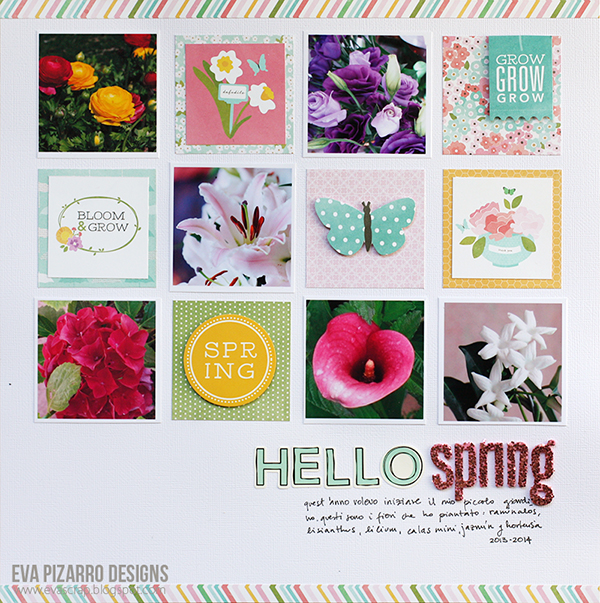 Hello Spring scrapbook layout created by @evapizrrov using @Pebblesinc #scrapbook