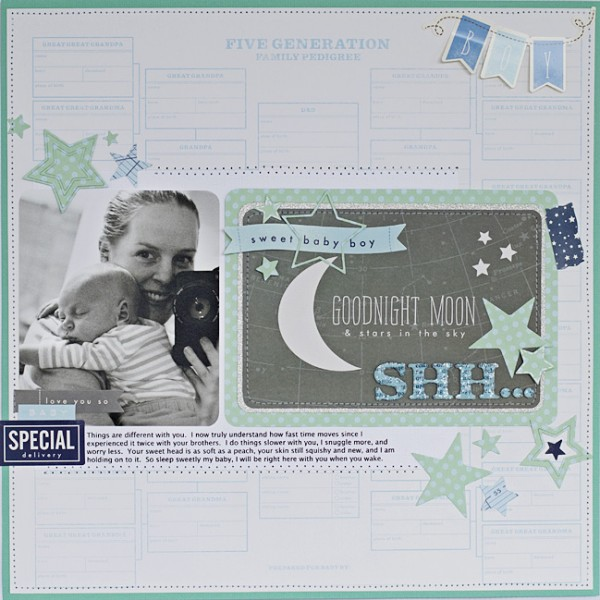 Baby boy scrapbook layout created by @justlulu using @pebblesinc Special Delivery collection #scrapbooking #baby