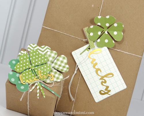 St. Patrick's Day gift wrap idea via @popperandmimi using @pebblesinc Garden Party collection #gift #packaging