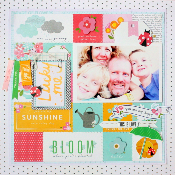 St. Patrick's Day inspired layout created by @kimjeffress using @PebblesInc Garden Party collection #scrapbooking