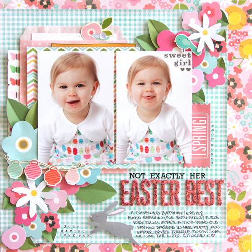 Easter scrapbook layout designed by @reneezwirek using the #GardenParty collection from @PebblesInc #scrapbooking #Easter #spring