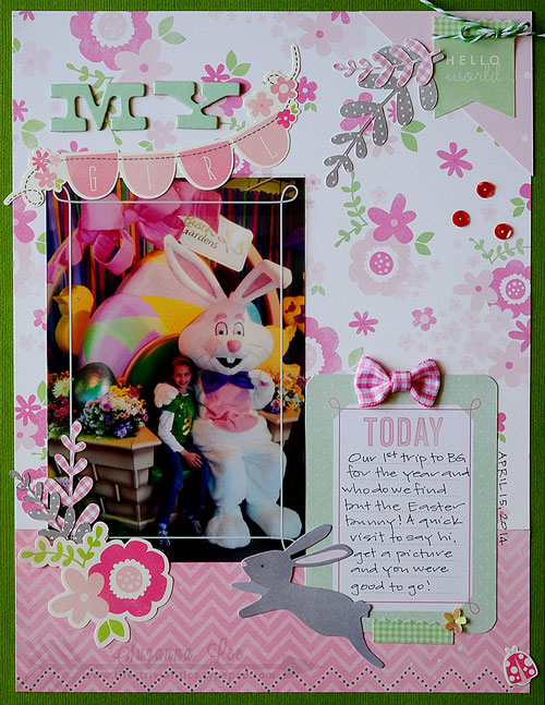 Easter scrapbook layout created by @SuzannaLee72 using @PebblesInc #SpecialDeliver collection #scrapbooking #pebblesinc