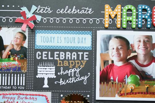 Birthday layout created by @antenucci using @PebblesInc rub-ons #scrapbooking #birthday