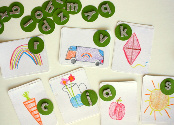 How to use scrapbooking supplies as teaching aids via @kimjeffress for @PebblesInc #education #teacheraid #alphabet
