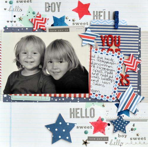 Great use of rub-ons in a scrapbook layout. Created by @scrappymermaid for @PebblesInc #scrapbooking #summer