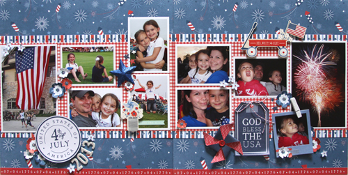 Red, white and blue scrapbook layout created by @reneezwirek for @PebblesInc using #Americana #patriotic #FourthofJuly
