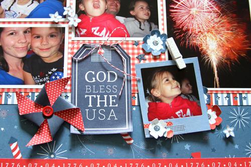 Red, white and blue scrapbook layout created by @reneezwirek for @PebblesInc using #Americana #patriotic #FourthofJuly
