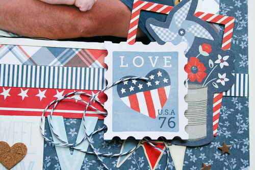 Layouts and home décor made by @antenucci using the #Americana line. #PebblesInc #redwhiteandblue
