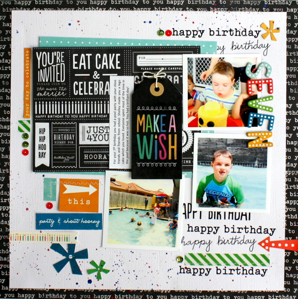 Birthday scrapbook layout featuring @PebblesInc #BirthdayWishes collection Page created by @KimJeffress #birthday #scrapbook #scrapbooking