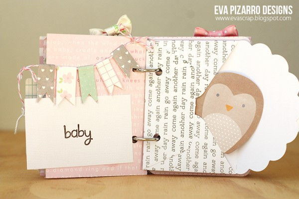 Baby themed envelope mini album created by @EvaPizarrov using @PebblesInc #specialdelivery collection. Great use of mini envelopes. #scrapbooking #minialbum