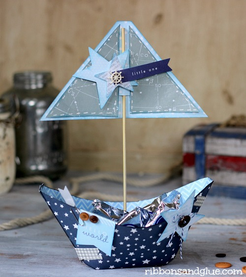 Come sail away with this sweet sailboat centerpiece by @RibbonsandGlue made with the #SpecialDelivery collection from #PebblesInc.
