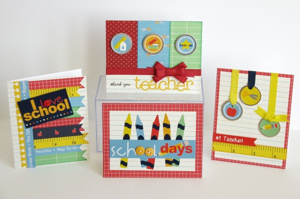 Pebbles Inc. Back To School Cards with Bow Tutorial by Mendi Yoshikawa @PebblesInc. @Mendi Yoshikawa