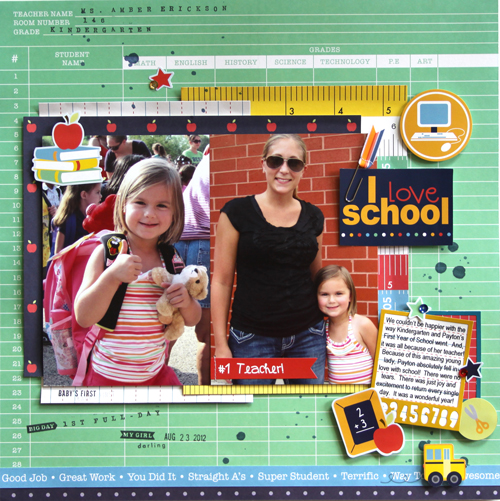 Capture those sweet moments of their first day back at school with this darling layout by @reneezwirek using the #BacktoSchool collection from @PebblesInc.