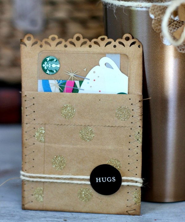 Gift card holder made from @pebblesinc Home + Made kraft bags by @ribbonsandglue