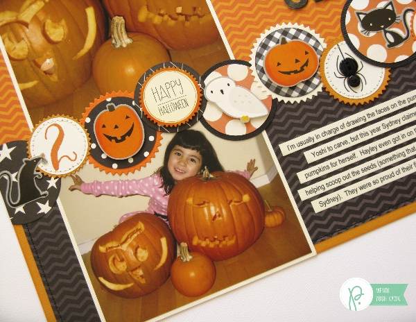 Halloween Layout featuring Circle Border created by Mendi Yoshikawa using the #Thirty-One collection from @PebblesInc. @SnippetsByMendi