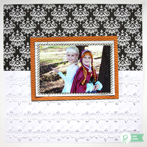 Celebrating a Disney Frozen Halloween with this Anna & Elsa layout by @reneezwirek using the #Thirty-One #Halloween collection by @Pebbles Inc.