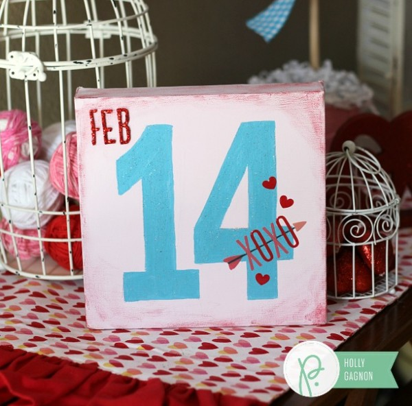 Valentine's Canvas made with @pebblesinc We Go Together collection by @ribbonsandglue
