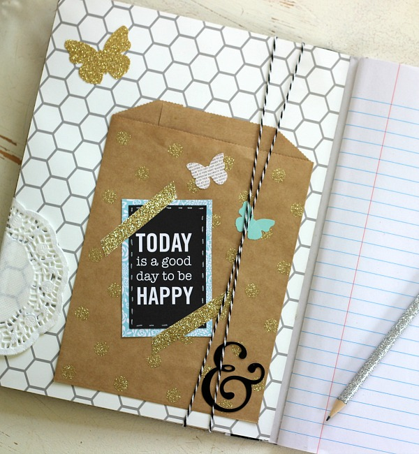 How to make a DIY Altered Notebook using the @pebblesinc Home + Made collection from @tatertotsandjello by @ribbonsandglue