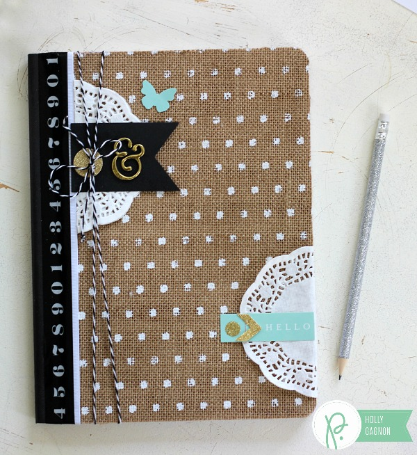 DIY Altered Notebook made from the @pebblesinc Home + Made collection by @ribbonsandglue