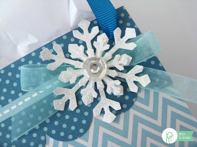 Winter Snow Themed Gift Packaging by Mendi Yoshikawa using #HomeForChristmas & #BirthdayWishes collection from @PebblesInc. @SnippetsByMendi