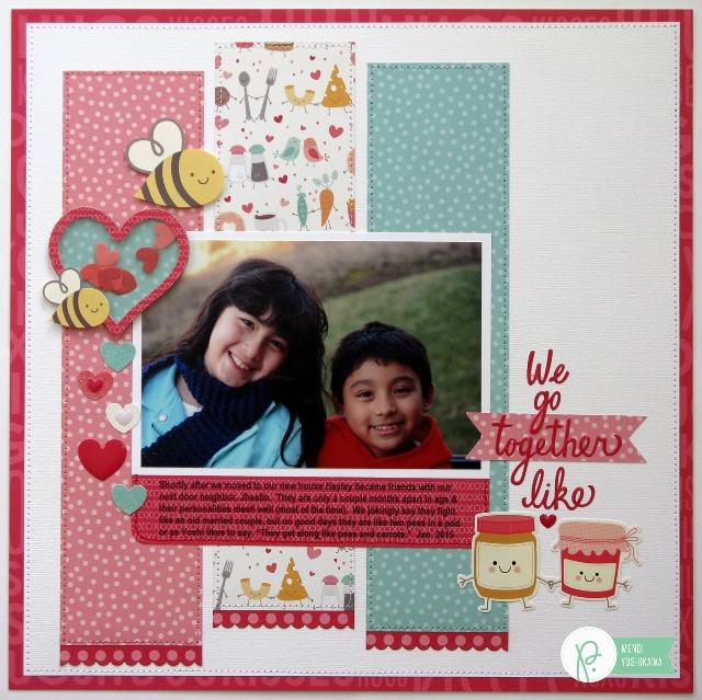 Valentine's Day Layout by Mendi Yoshikawa using the #WeGoTogether collection from @PebblesInc. @SnippetsByMendi