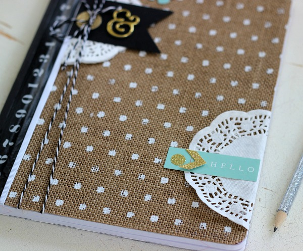 DIY Altered Notebook using the @pebblesinc Home + Made collection by @ribbonsandglue