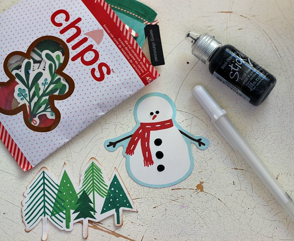 Enhanced die cut Chips from the @pebblesinc Home for Christmas collection by @ribbonsandglue