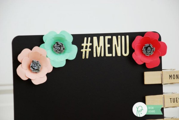 Easy DIY Menu Chalkboard created using the Cottage Living collection by @jbckadams for @pebblesinc
