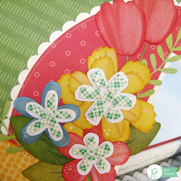 Create dimension for Spring flower die cuts with foam tape using the #HomeGrown collection from @PebblesInc. @SnippetsByMendi