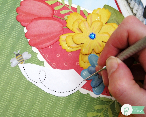 Custom Hand Stitching Templates Tutorial by Mendi Yoshikawa using the #HomeGrown collection from @PebblesInc. @SnippetsByMendi