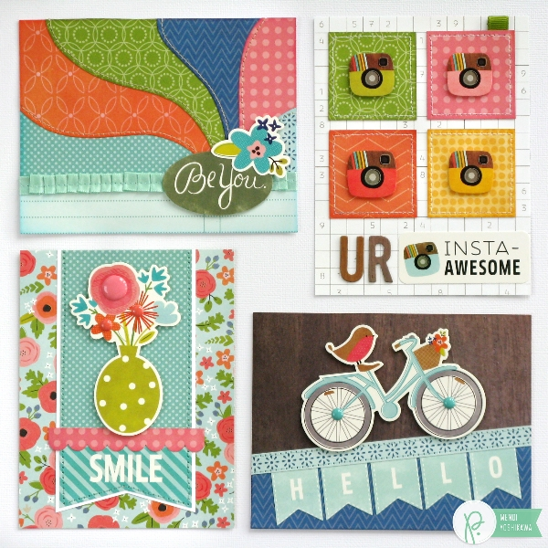 Spring Cards by Mendi Yoshikawa using Phrase Stickers & the #HappyDay collection from @PebblesInc. @SnippetsByMendi
