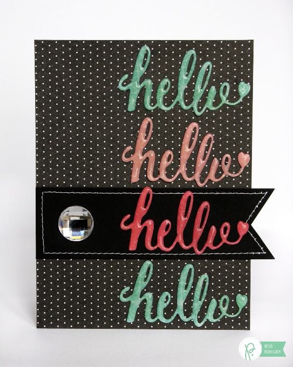 Hello Die-cut card by Mendi Yoshikawa using the #CottageLiving collection from @PebblesInc. @SnippetsByMendi