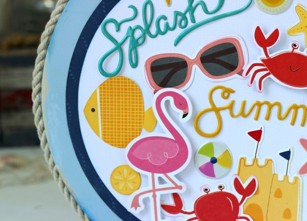 DIY Home Decor project using the @pebblesinc Fun in the Sun collection created by @ribbonsandglue