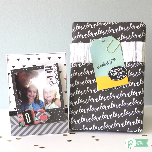 Father's Day Photo Frame Magnet card and Simple Gift Wrapping by @reneezwirek using the #JHCottageLiving collection by @PebblesInc. and and @Tatertots and Jello .com
