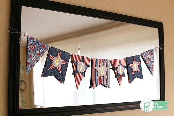 4th of July Banner made by @evapizarrov usiing the  #BannerPunchBoard by @wermemorykeeper and the #Americana collection by @pebblesinc