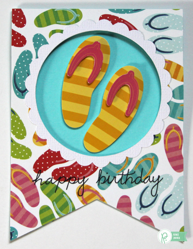 Banner Shaped Birthday Cards by @reneezwirek using the #FunInTheSun collection by @Pebbles Inc. and the #BannerPunchBoard by @We R Memory Keepers