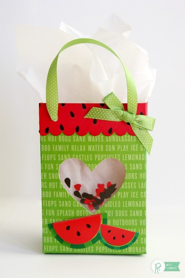 Summer Shaker Watermelon Gift Bag by Mendi Yoshikawa using the #FunInTheSun collection by @PebblesInc. @SnippetsByMendi