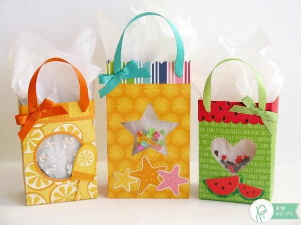 Summer Shaker Gift Bags by Mendi Yoshikawa using the #FunInTheSun collection by @PebblesInc. @SnippetsByMendi