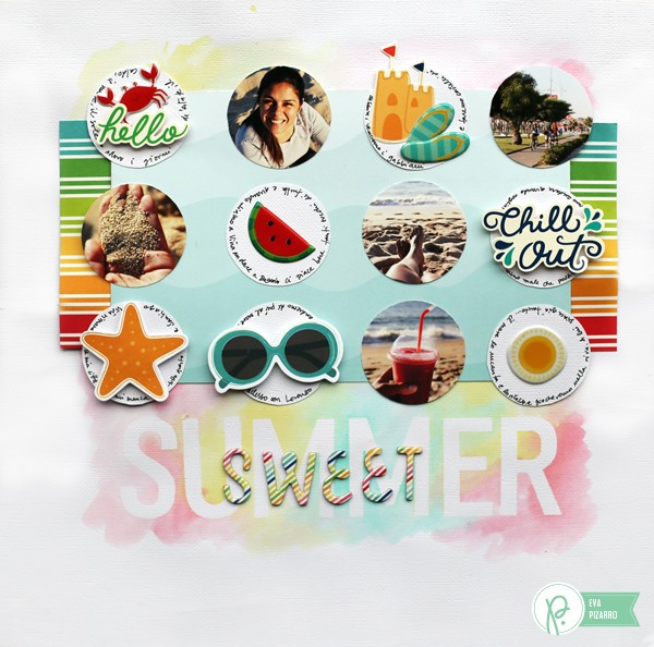 Watercolor layout by @evapizarrov using #funinthesun collection by @pebblesinc