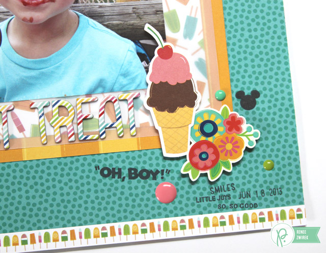 Disney Project Life Album - Sweet Treat layout by @reneezwirek using the #FunInTheSun collection by @Pebbles Inc.