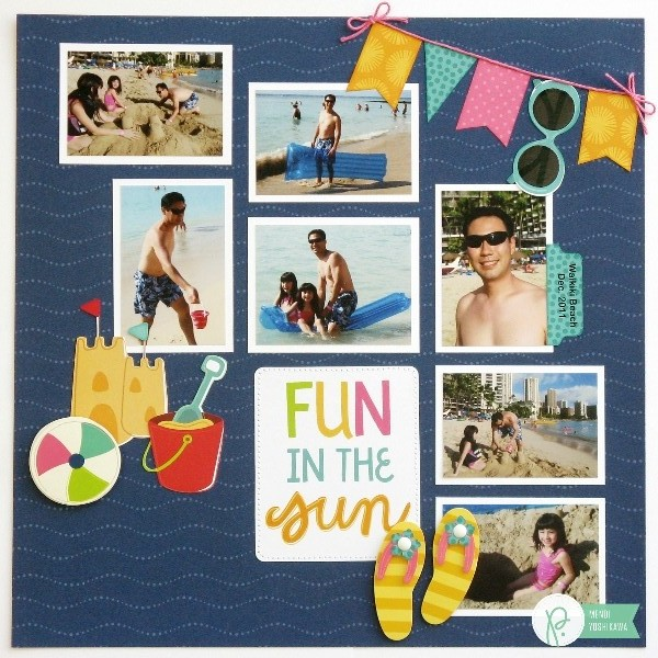 Summer Beach Layout by Mendi Yoshikawa using the #FunInTheSun collection from @PebblesInc. @SnippetsByMendi
