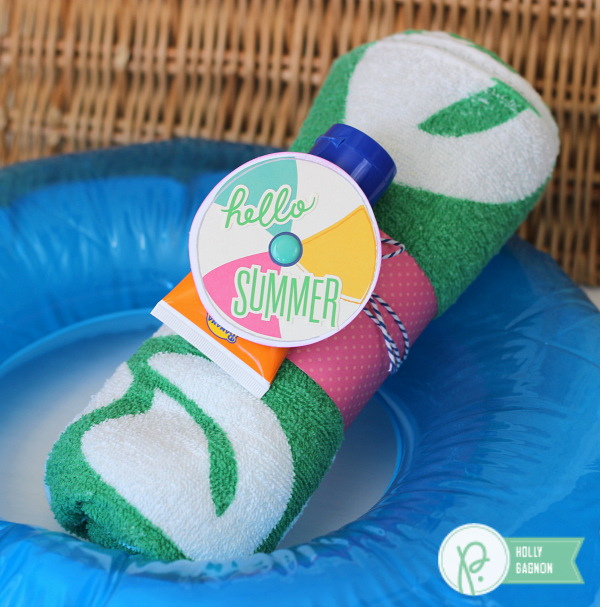 Pool Party Gift idea made with @pebblesinc Fun in the Sun collection created by @ribbonsandglue
