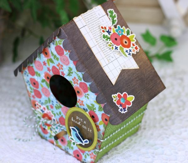 3D birdhouse made with @silhouetteamerica and the @pebblesinc Happy Day collection by @ribbonsandglue