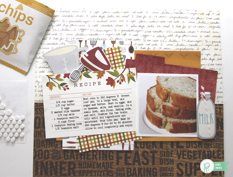 Document a favorite recipe with this Homemade Banana Bread Layout by @reneezwirek using the #Harvest collection by @Pebbles Inc.