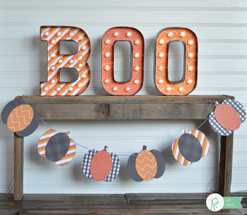 Simple Pumpkin Banner made by @thehappyscraps with @pebblesinc Boo! collection.