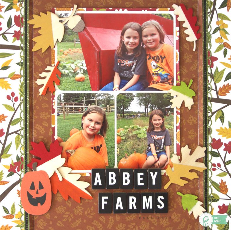 Create a colorful fall pumpkin farm layout with this Abbey Farms Layout by @reneezwirek using the #Harvest collection by @Pebbles Inc.